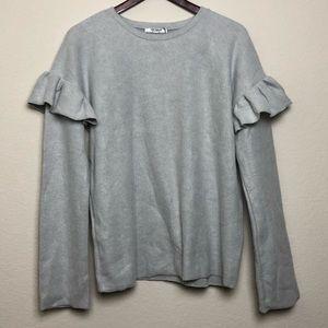 Zara | Trafaluc Gray Long Sleeve Crew Neck Sweater